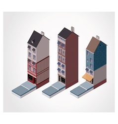 isometric old buildings vector image vector image