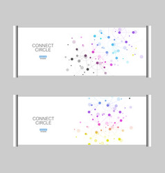 roll up banner stand with abstract connect vector image vector image