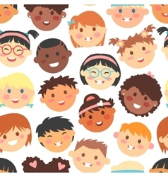 seamless pattern of kids faces different vector image vector image
