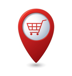 shop basket icon red pointer vector image vector image