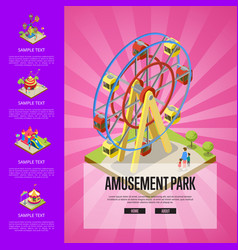 Amusement park banner with isometric elements vector