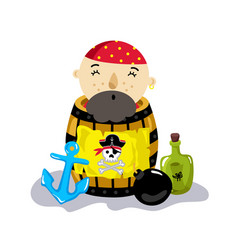 pirate character in wooden barrel icon vector image