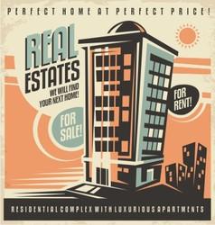 Real estates vintage ad design concept vector image vector image