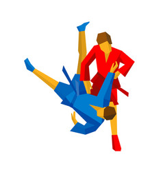 sparring of two sambo fighters in red and blue vector image