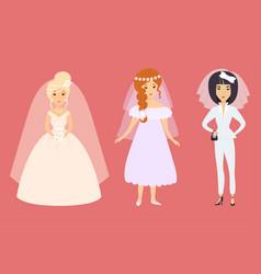 wedding brides characters vector image