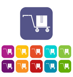 delivery cart with box icons set flat vector image vector image