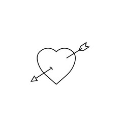 heart with arrow line icon love sign valentines vector image vector image