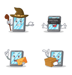 set of tablet character with witch virtual vector image vector image