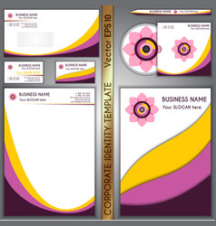 corporate brand yellow and purple template vector image vector image