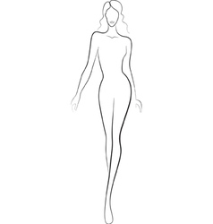 fashion sketch of catwalk woman vector image vector image