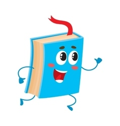 Funny book character running with bookmark ribbon vector image