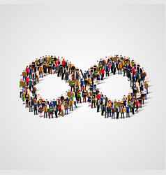 large group of people in the infinity sign shape vector image