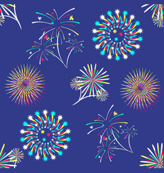 pattern with different colorful fireworks vector image