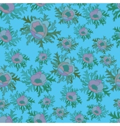 Seamless pattern with anemones in blue color vector image