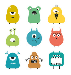set of cartoon cute funny colorful monsters vector image vector image