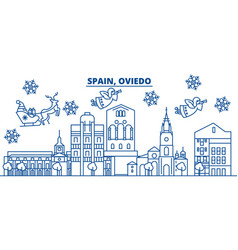 spain oviedo winter city skyline merry christmas vector image vector image