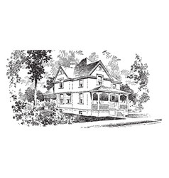 The adele typical hipped roof vintage engraving vector
