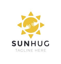 yellow sun hug logo for company business creative vector image