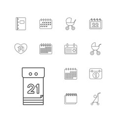 13 calendar icons vector