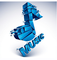 3d blue shattered musical notes with music word vector