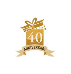 40 years gift box ribbon anniversary vector