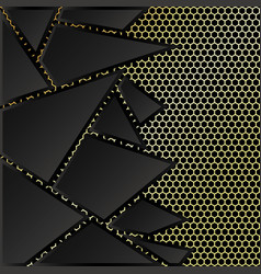 abstract black triangles gold mesh background vector image