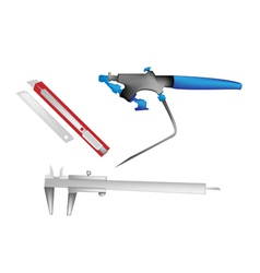 Airbrush caliper and paper knife vector