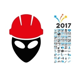 Alien Worker Icon with 2017 Year Bonus Pictograms vector