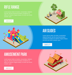 amusement park isometric horizontal flyers vector image