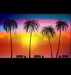 Beach side and tropical palm trees with city vector