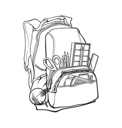Blue backpack packed with school items supplies vector