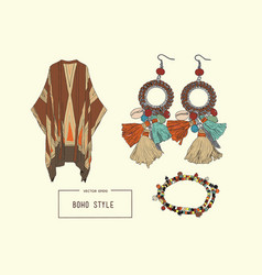 bohemian fashion style set boho and gypsy clothes vector image