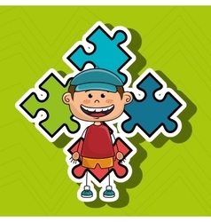 Boy kids puzzle icon vector
