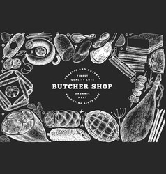 butcher shop hand drawn banner template retro vector image