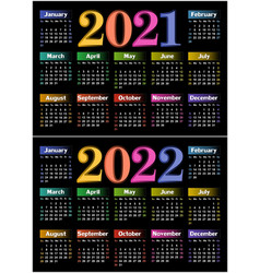 Calendar for 2021 and 2022 vector