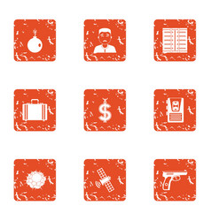 cash office icons set grunge style vector image