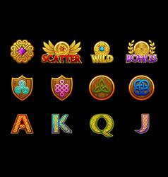 Celtic icons for casino slots machines game asset vector