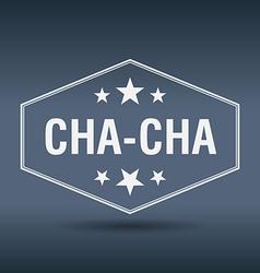 Cha-cha hexagonal white vintage retro style label vector