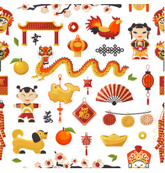 china new year icons set decorative holiday vector image