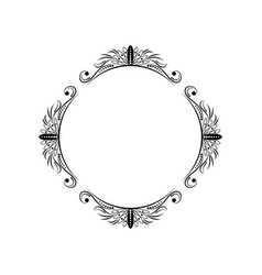 Classic round elegant black frame vector