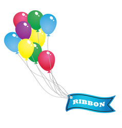 Colorful balloon and blue ribbon banner vector