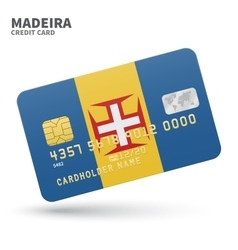 Credit card with Madeira flag background for bank vector