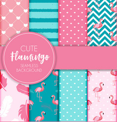 Cute retro seamless flamingo pattern collection vector