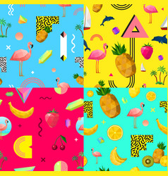 Decorative colorful seamless patterns set vector
