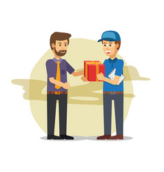 delivery guy sending a parcel vector image