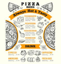 design template for pizzeria menu vector image