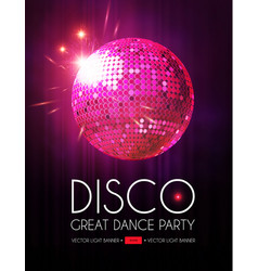 disco party flyer templatr with mirror ball stage vector image