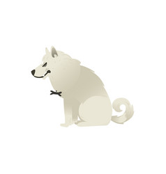 Evil sitting white fluffy dog isolated on white vector