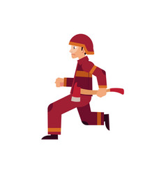 fireman in protective uniform and helmet runs vector image