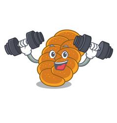 Fitness challah character cartoon style vector